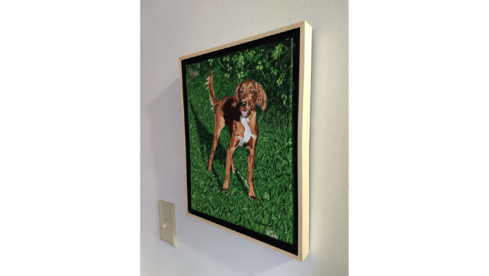 "Mac's portrait, framed and hanging on the wall, 11x14"" canvas."