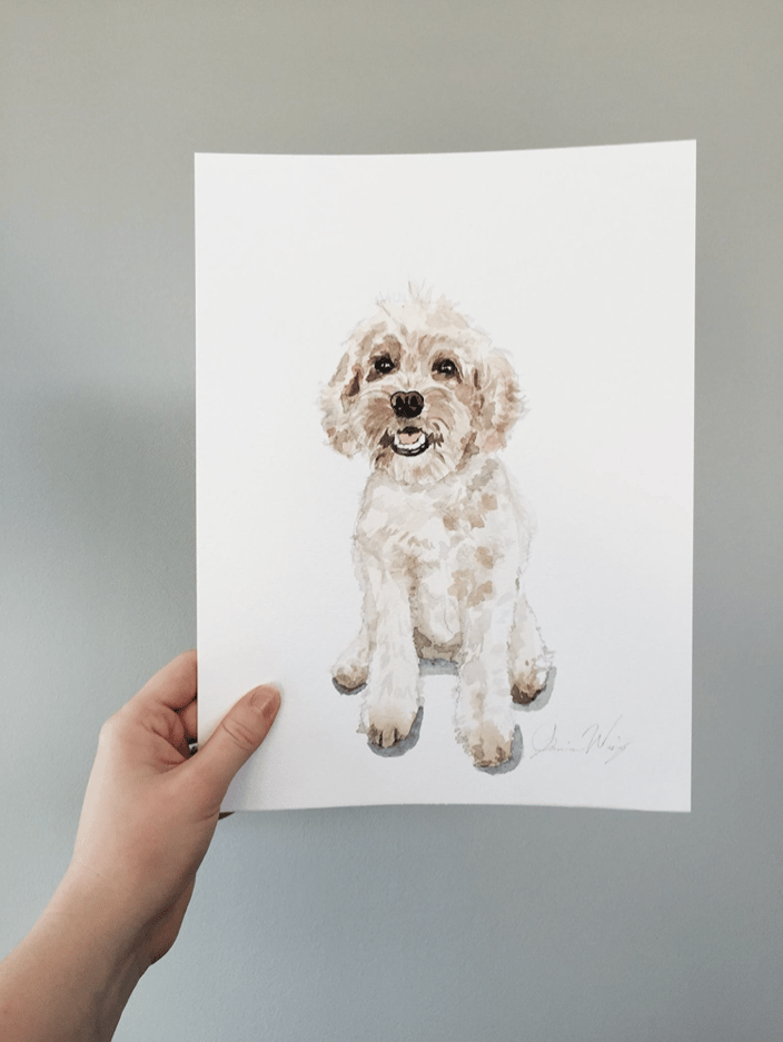Watercolor custom dog portrait, golden doodle