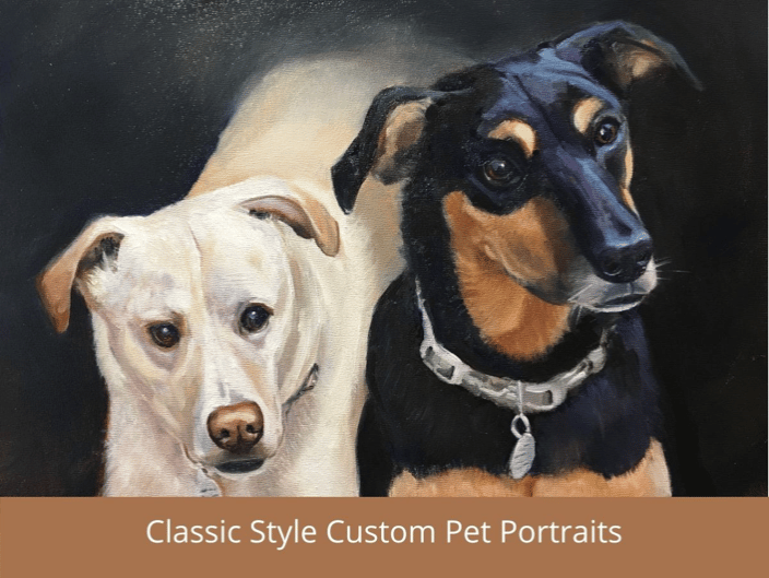 Classic Style Pet Portrait of two dogs