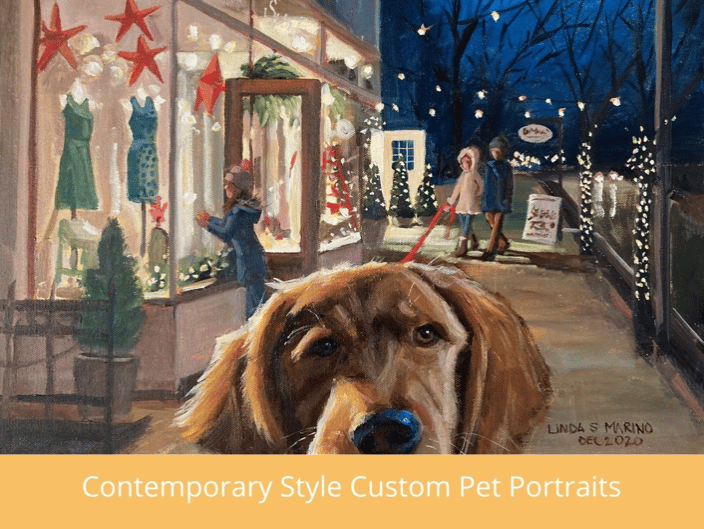Contemporary Style Pet Portraits in Setting